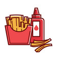 fried potato and bottle of tasty ketchup isolated vector image