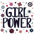 girl power with flowers and hearts vector image vector image