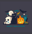 halloween card with black cat and pumpkin vector image vector image
