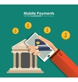 hand holds smartphone mobile payment bank app vector image vector image
