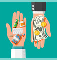 hand with money and drugs vector image