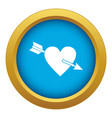 heart with arrow icon blue isolated vector image vector image