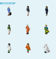 isometric human set of cleaner girl pedagogue vector image vector image