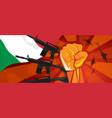 italy war propaganda hand fist strike with arm vector image