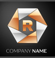 letter r logo symbol in the colorful hexagon on vector image vector image