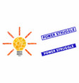 light bulb mosaic and scratched rectangle power vector image vector image