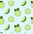 lime slices and leaves seamless pattern vector image vector image