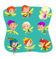 little winged elves set cute fairytale elf vector image vector image