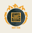 music poster with vinyl record on fire vector image vector image