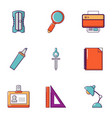 office work icons set flat style vector image vector image