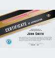official white certificate with gold black pink vector image vector image