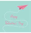 Origami pink paper plane Dash line Valentines day vector image vector image