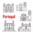 portugal architecture landmarks buildings vector image