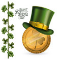 poster saint patricks day with gold coin with vector image