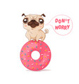 pug and donut in kawaii style vector image vector image