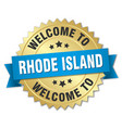 rhode island 3d gold badge with blue ribbon vector image vector image