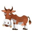Sad brown cow in cartoon style isolated vector image