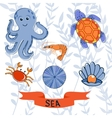 Sea creatures colorful collection vector image vector image