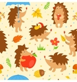 Seamless pattern with simple cute hedgehogs vector image vector image