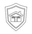 shield with house icon vector image