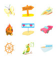 summer rest icons set cartoon style vector image