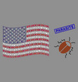 usa flag stylized composition bug and grunge vector image vector image