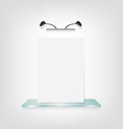 White poster on glass shelf bracket vector image vector image
