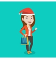 Woman in santa hat shopping for christmas gifts vector image vector image