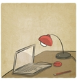 workplace laptop lamp old background vector image vector image