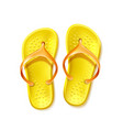 yellow flip flops beach footwear slippers vector image vector image