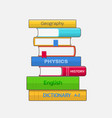 stack of colored textbooks on white background vector image
