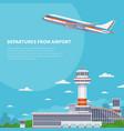 airplane takeoff on runway in international vector image
