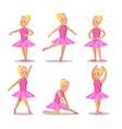 little ballerina in pink dress cartoon characters vector image