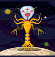 alien in a spacesuit cartoon style background vector image vector image