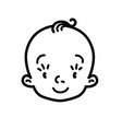 baby icon face of small boy or girl line drawing vector image vector image