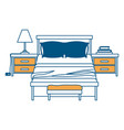 bedroom with nightstand color section silhouette vector image vector image