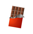 big sized bar of milk chocolate in red packaging vector image