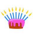 birthday cake on white background vector image vector image