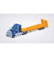 Blue heavy truck with yellow low-bed trailer vector image vector image