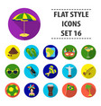 brazil country set icons in flat style big vector image