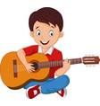 cartoon boy playing guitar vector image vector image