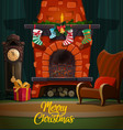 christmas fireplace with xmas gifts and stockings vector image