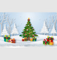 christmas tree in forest with presents vector image vector image