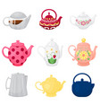 collection different teapots cartoon style vector image vector image