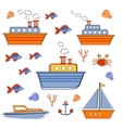Colorful boats and ships collection vector image