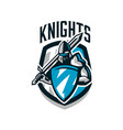 colorful logo sticker emblem of the knight in vector image vector image