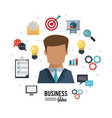 colorful poster of businessman with icons set vector image vector image
