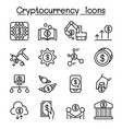 cryptocurrency icon set in thin line style vector image vector image