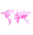 Detailed World map of pink colors vector image vector image