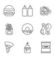 different fast food icons set outline style vector image vector image